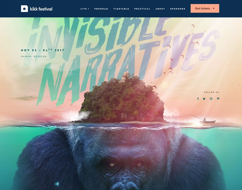 A screenshot of vibrant colors on KIKK Festival's web design.