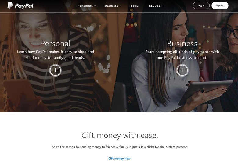 Screenshot of paypal.com using an actionable landing page in their design.
