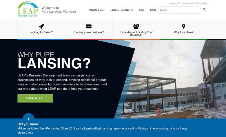 Screenshot of purelansing.com using highlights in their web design.